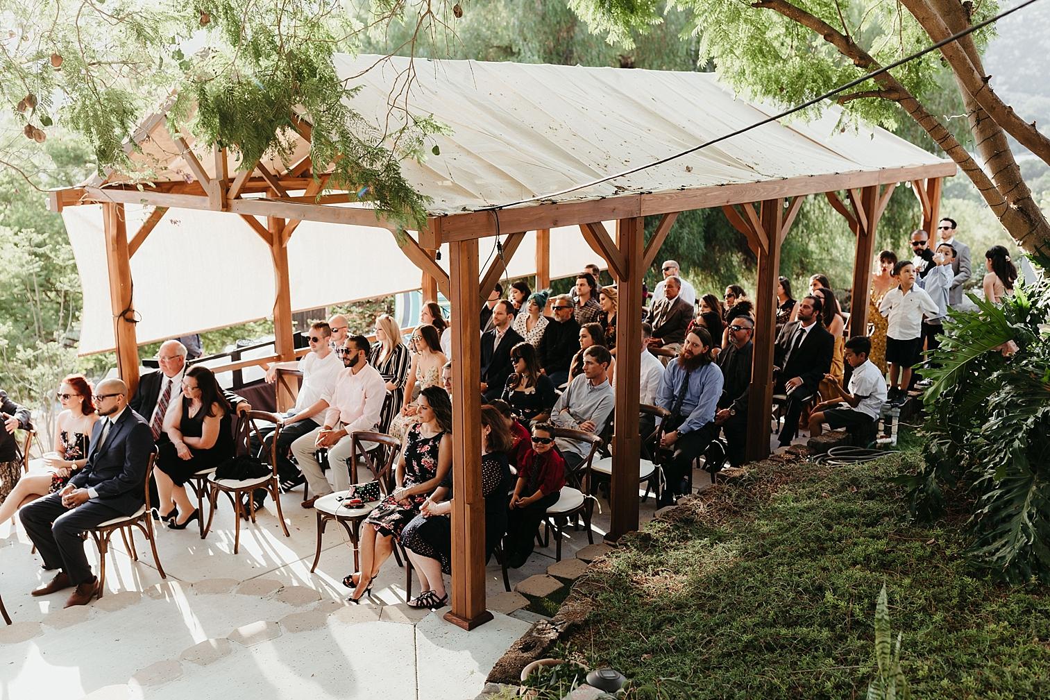 Backyard wedding ceremony site