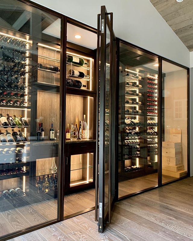 Private Residence Steel & Glass Enclosed Wine Room by @maidensteel - San Juan Capistrano, CA.