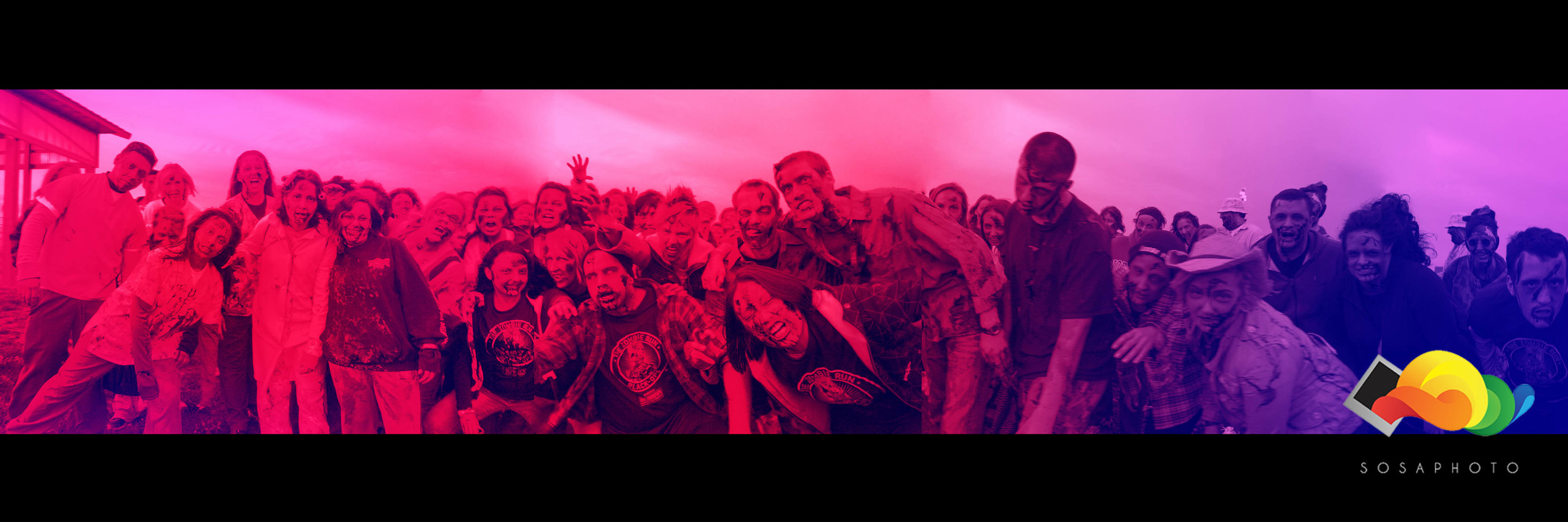 "The Resurrection has begun! Photographed "" The Zombie Run "" group of infected individuals before they spread!"
