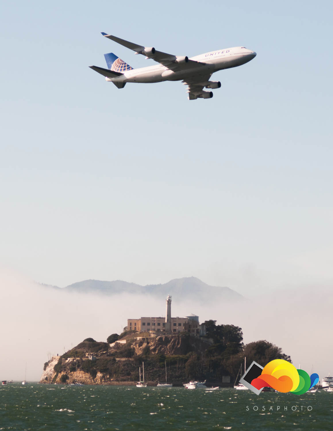 The Finale of Fleet Week, United Airlines Boeing flying over Alcatraz.