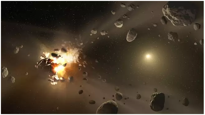 An artist's impression of an asteroid collision in space. NASA/JPL-Caltech