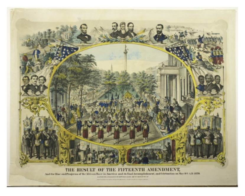 Hand colored lithograph print commemorating the passage of the Fifteenth Amendment containing a large central scene of the celebratory parade held in Baltimore in May surrounded by several bust portraits and vignettes. Source:  The Library Company of Philadelphia