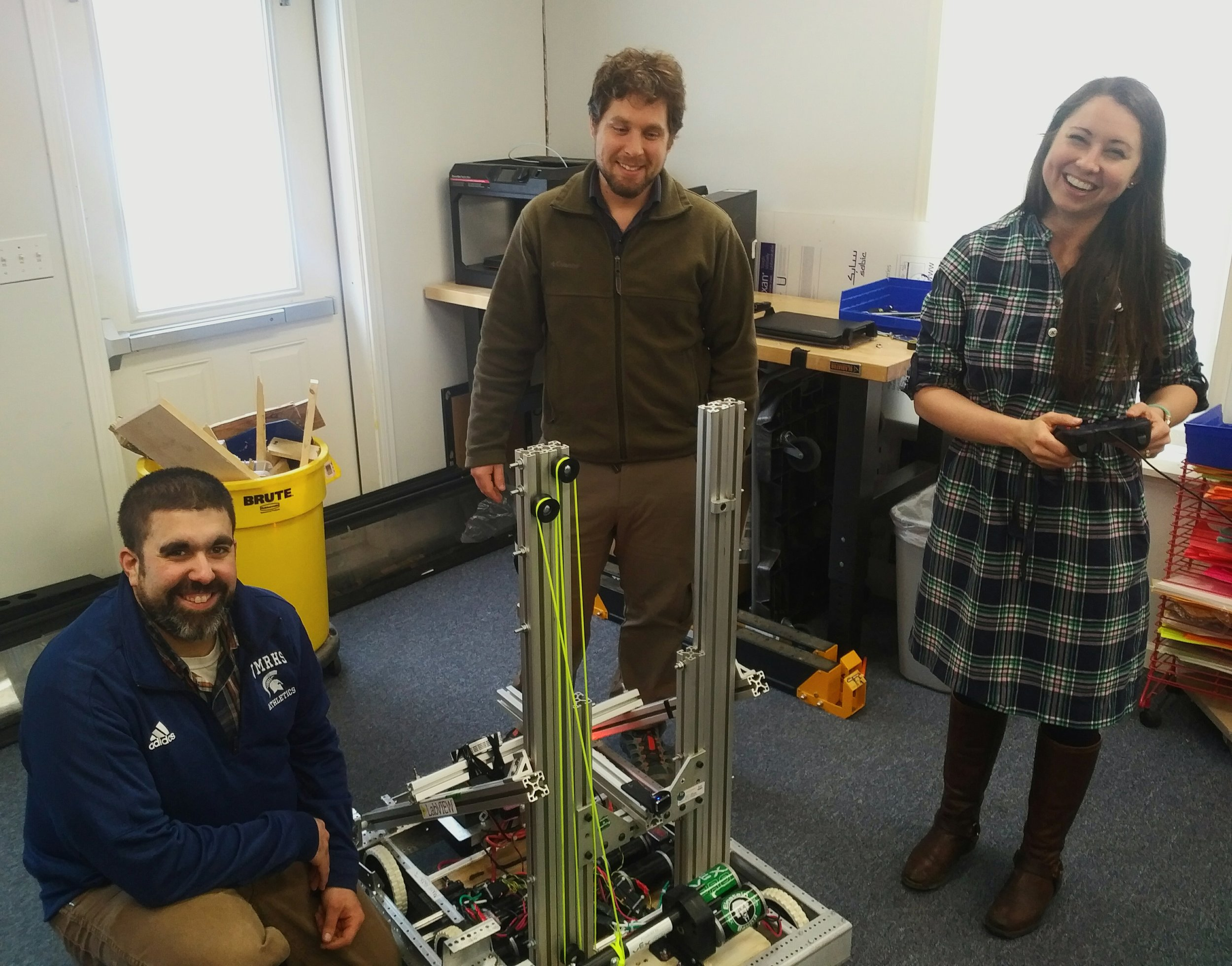 STEAM faculty Rick Grima and Dan Hubacz, who mentor the new Robotics team, joined by ERC's Dr. Katrina Kennett