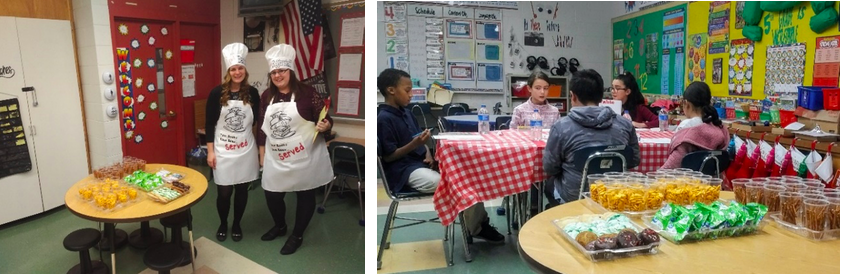 "Students enjoy an ""luncheon out with reservations, menus and reading"" with teachers Justyna Barlow and Laticia Biggerstaff."