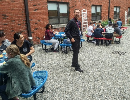 Principal Milisauskas and the new outdoor lunch area