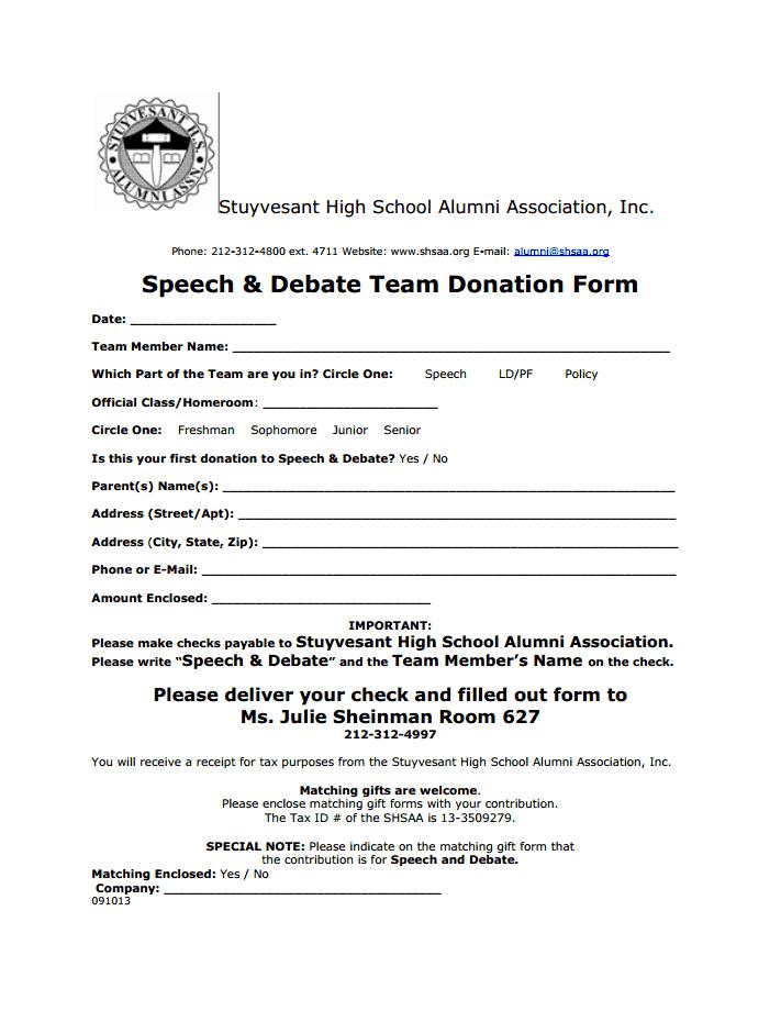 Team Donation Form