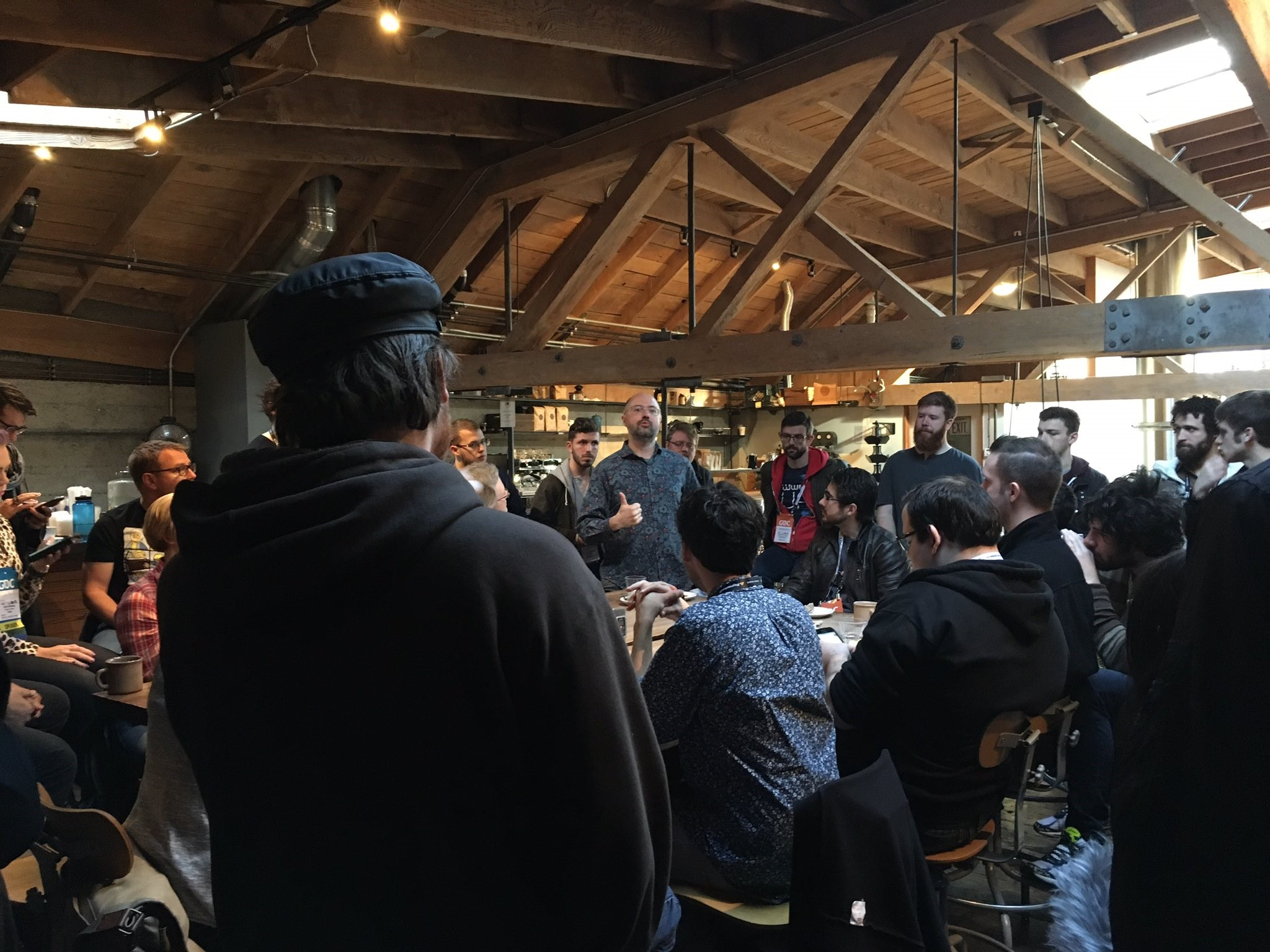 Damian Kastbauer leading a morning Sightglass game audio discussion.