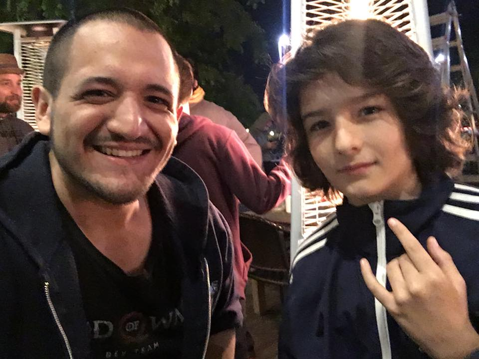 Selfie with Sunny Suljic, aka Atreus in God of War, at the God of War studio wrap party.