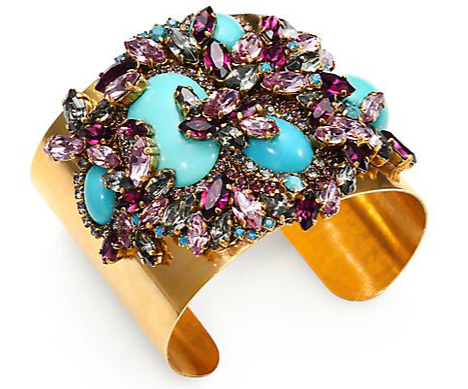 """Or for your """"Something Blue"""" this Erickson Beamon Girls on Film Cuff from  Saks , preferably paired with one of the gold Pronovias headpieces. Not traditional, but FABULOUS!"""