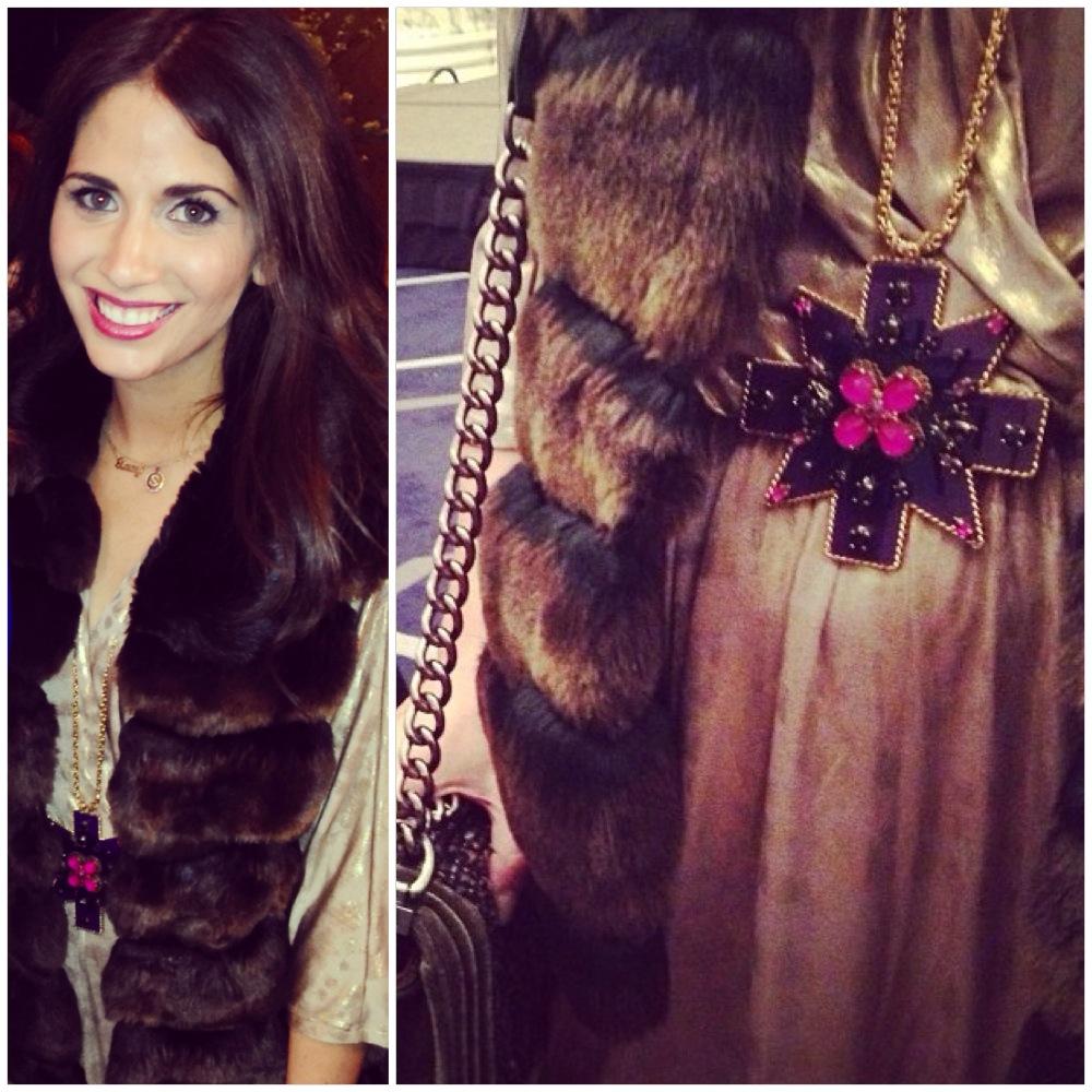 Faux Fur Vest: Aqua, Gold Dress: BCBG, Necklace: Erickson Beamon for Anna Sui, Bag: Chanel