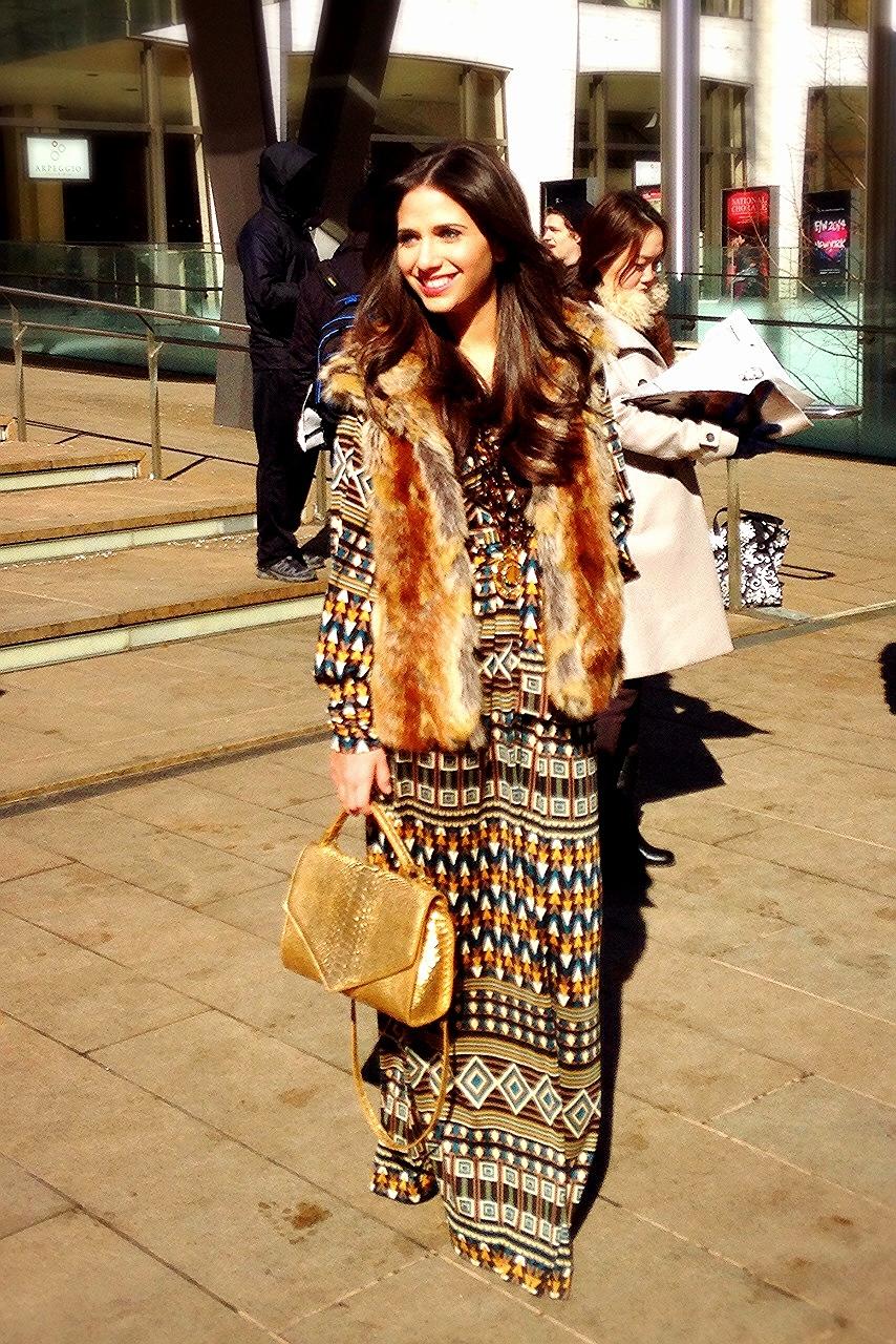 Dress: Issa London, Vest: Aqua, Necklace: Erickson Beamon, Bag: Emily Cho