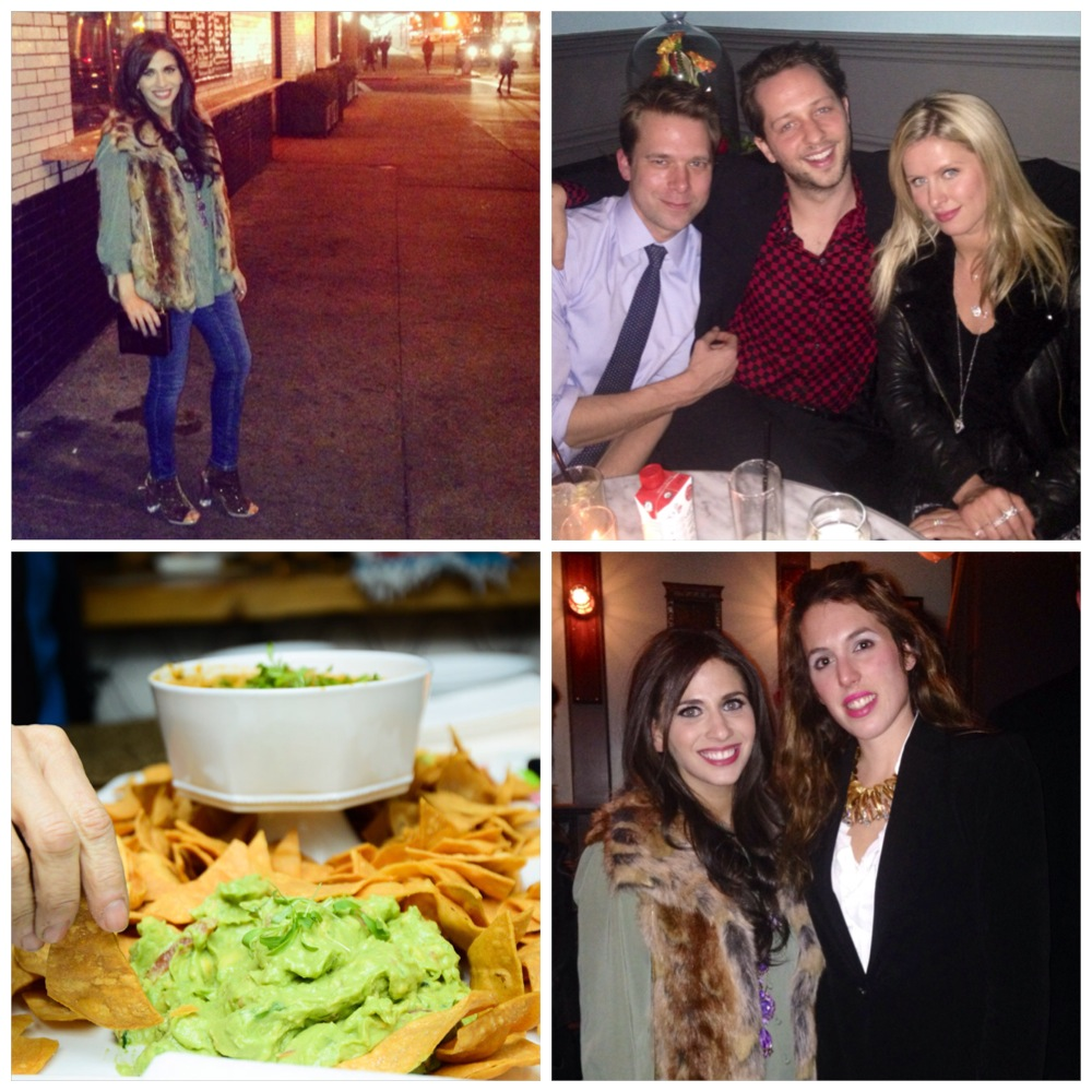 Clockwise from top left: my vegan-friendly ensemble for the night (faux fur, of course!); Christopher Bollen, Derek Blasberg and Nicky Hilton; me with my dear friend, Lauren Hart Bochner;  yummy vegan appetizers