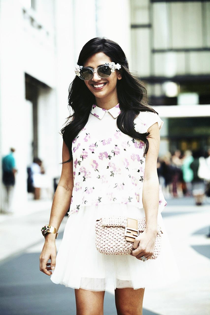 Sunglasses: Dolce & Gabbana, Dress: Pixie Market, Cuff: Erickson Beamon, Bag: Fendi  Photo: Photodama