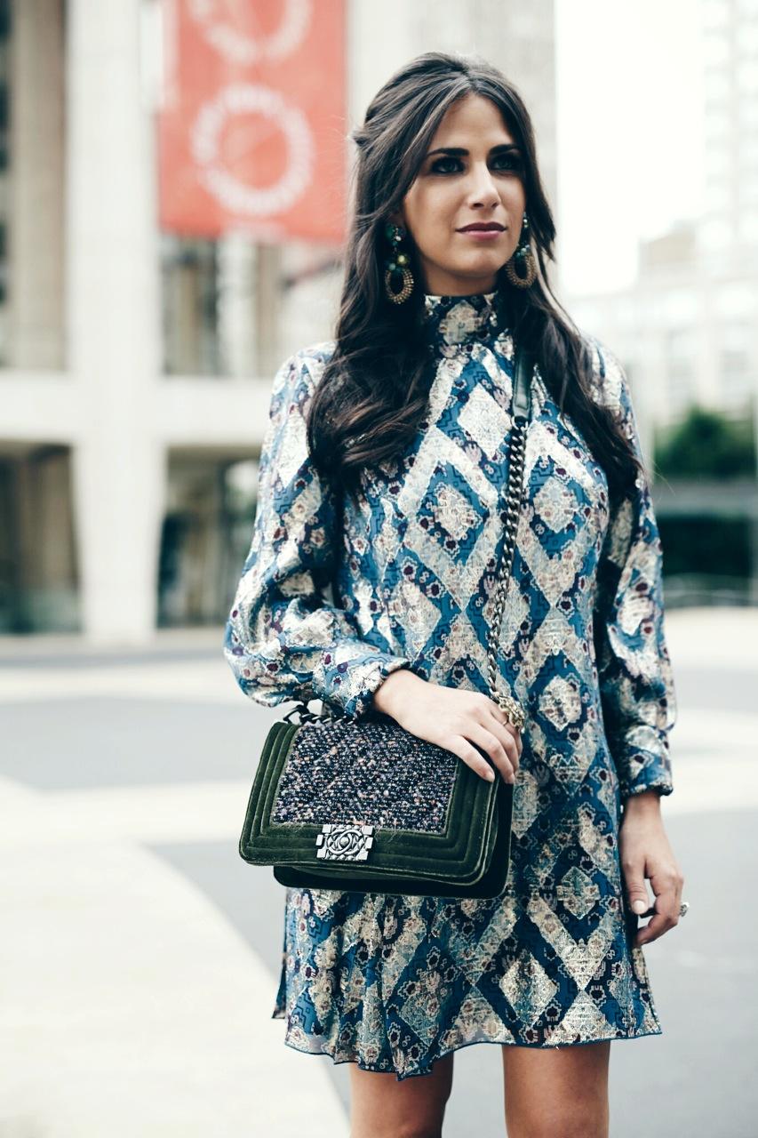 Earring: Erickson Beamon, Dress: Anna Sui Bag: Chanel  Photo: Photodama