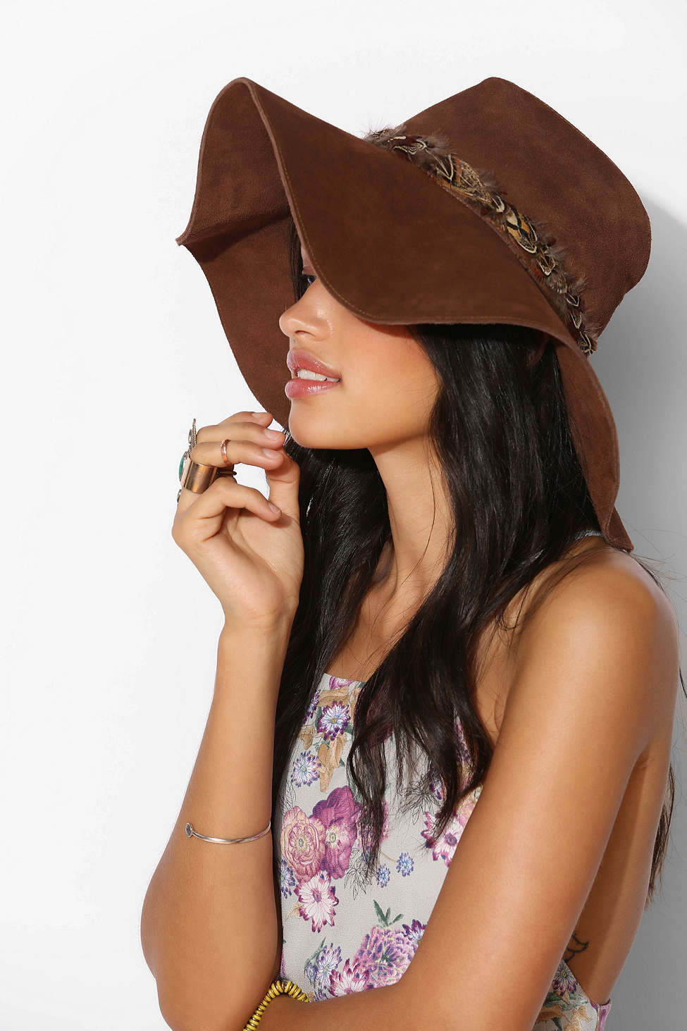 Floppy Wide-Brimmed Suede Panama , $148