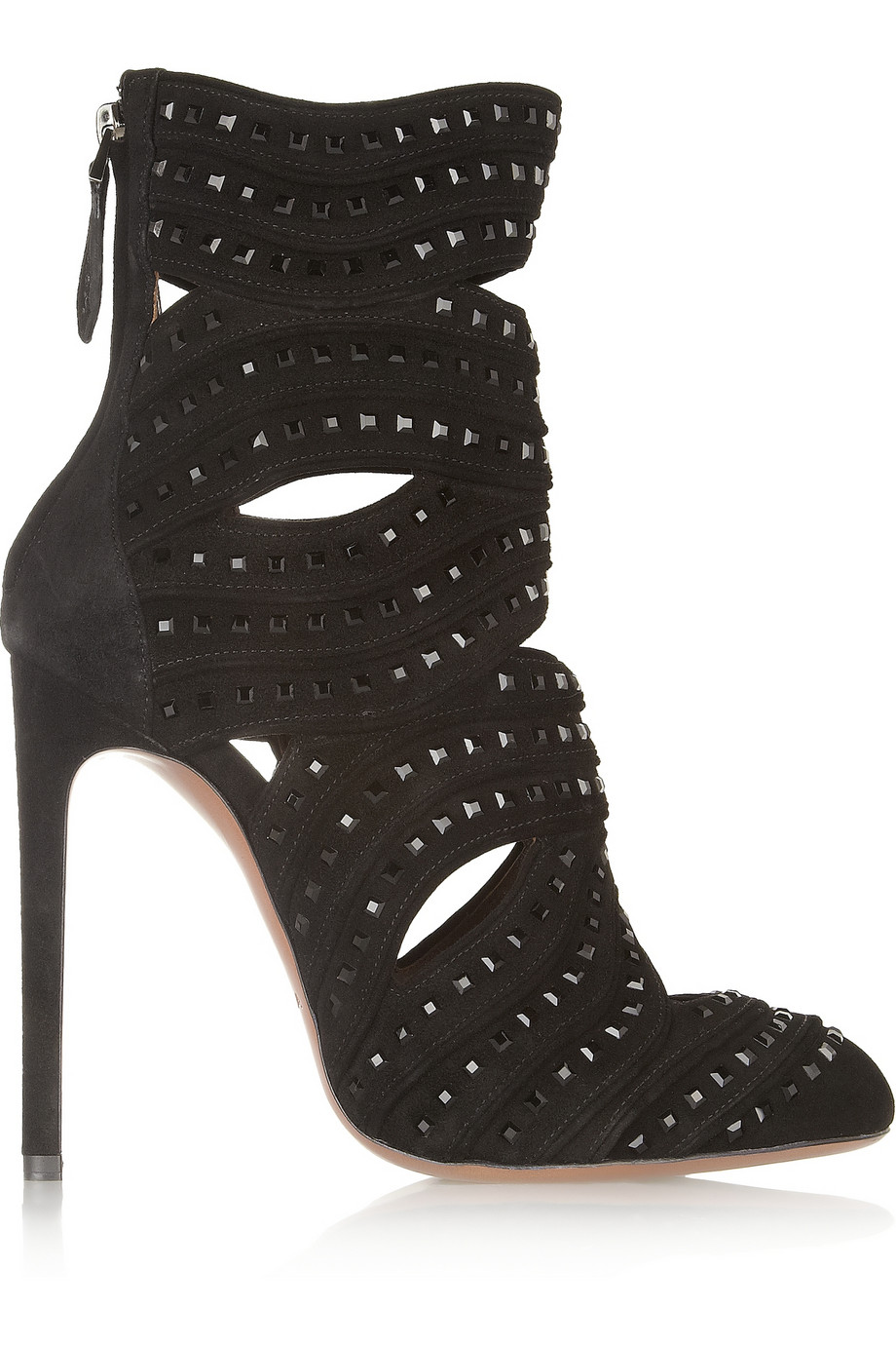 Alaia Studded Cutout Suede Bootie $1710 marked down from $4275