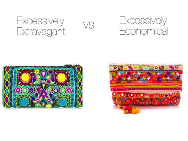 Excessively Extravagant:  Edie Parker, $1895    Excessively Economical:   Star Mela, $115