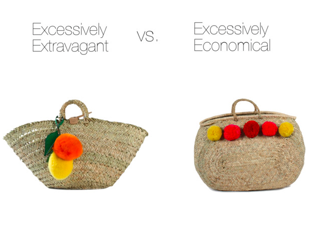 Excessively Extravagant :  Dolce & Gabbana, $2495    Excessively Economical:   Bohemia Design, $66