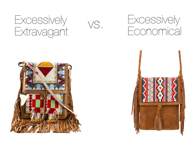 Excessively Extravagant:   Etro, $2853    Excessively Economical:     Mango, $59