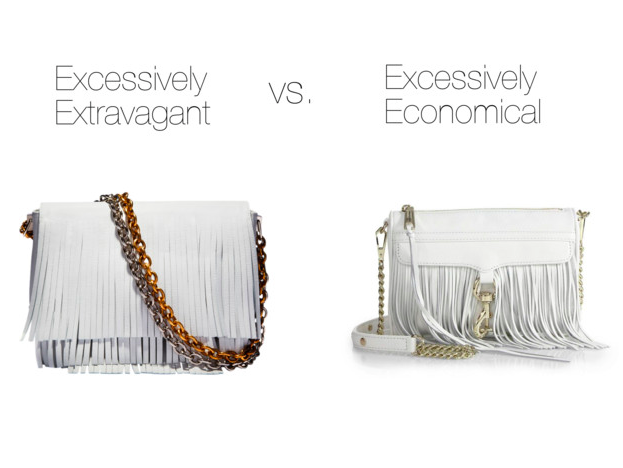Excessively Extravagant:  Proenza Schouler, $1875    Excessively Economical :  Rebecca Minkoff, $195