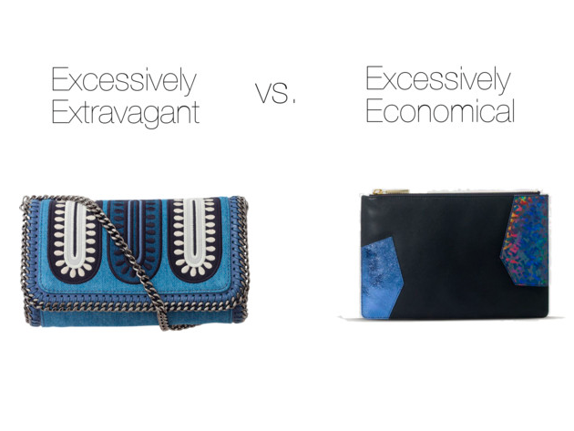 Excessively Extravagant:   Stella McCartney, $1120    Excessively Economical:   Whitsles, $55