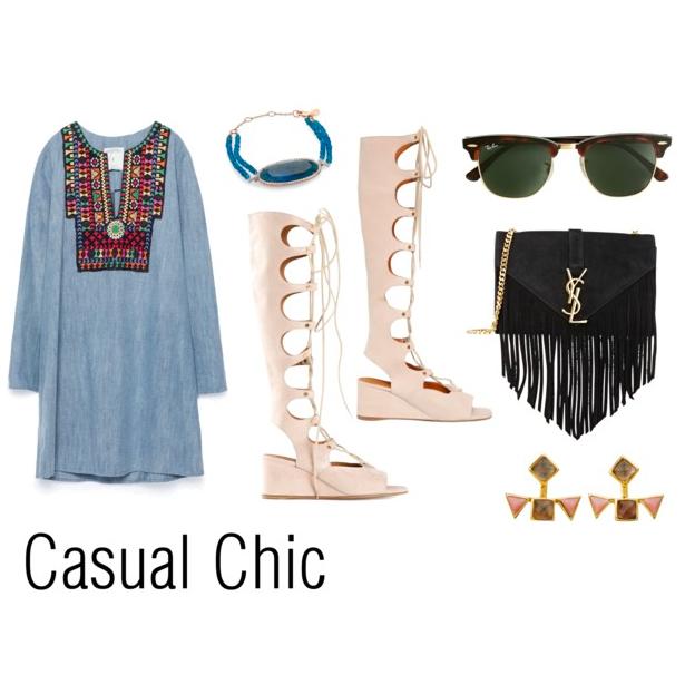 Gladiators:  Chloe , Dress:  Zara , Bracelet:  MeiraT , Sunglasses:  Ray-Ban , Bag:  Saint Laurent , Ear Jackets:  Katie Diamond Jewelry