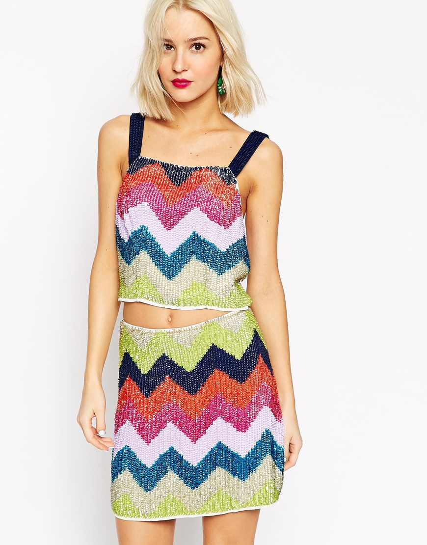 ASOS Chevron Sequined  Bralet  ($31) and  Skirt  ($48)