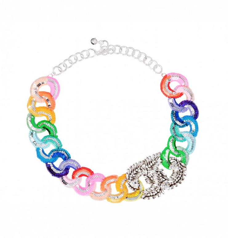 Shourouk Rainbow Sequin Chain Necklace  ($418)