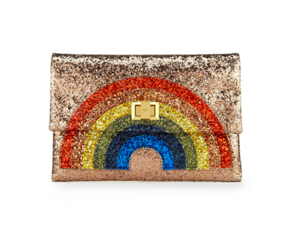 Anya Hindmarch Valorie Clutch in Rainbow  ($750)