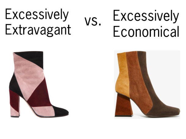 Gianvito Rossi Patchwork Suede Boot, $1160    Jeffrey Campbell Romford Suede Boot, $215