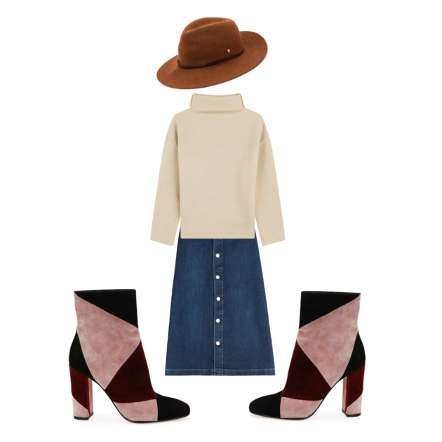 Hat:  Helen Kaminski Brown Kataka Western Brim Felt Fedora , $275  Sweater:  Isabel Marant Etoile Oversize Virgin Wool Turtleneck , $235  Skirt:  Alexa Chung for AG Cool Denim Skirt , $365