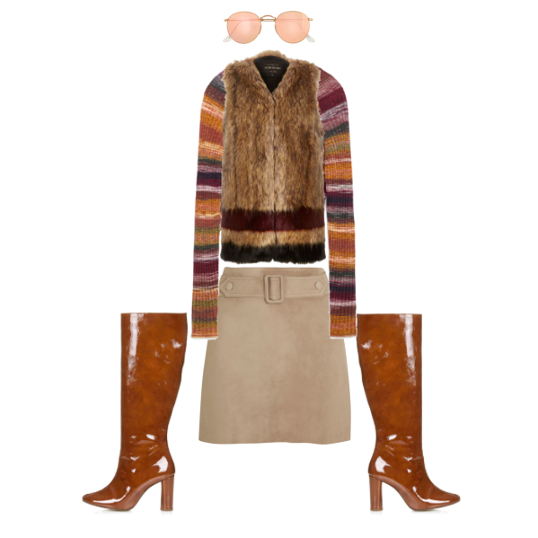 Sunglasses:  Ray-Ban J.Crew Ray-Ban Retro Round Sunglasses With Flash Lenses , $160  Sweater:  Zara Cropped Sweater , $49.90  Vest:  River Island Striped Faux Fur Vest , $130  Skirt:  Calvin Klein Collection Belted Suede Mini Skirt , $1795