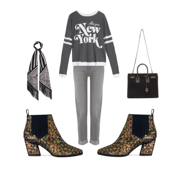 Top:  WildFox New York Sweatshirt , $141  Jeans:  Rag & Bone Aged Grey Denim Jeans , $325  Scarf:  Rockins Paisely Fringed Silk Scarf,  $391  Bag:  Saint Laurent Small Suede Sac De Jour , $2590