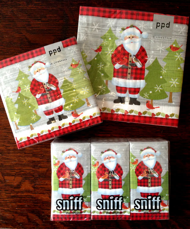 A Santa Claus design created by Liz Leines. Napkins and tissues with my art licensed to Paper Products Design.