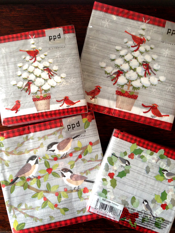 Trees and birds on napkins. Art by Liz Leines. Manufactured by PPD.