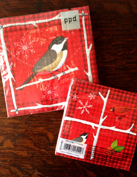 Winter/Christmas napkins manufactured by PPD. Art by Liz Leines.