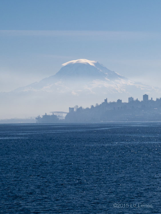Commencement Bay and cloud-capped Mount Rainier.