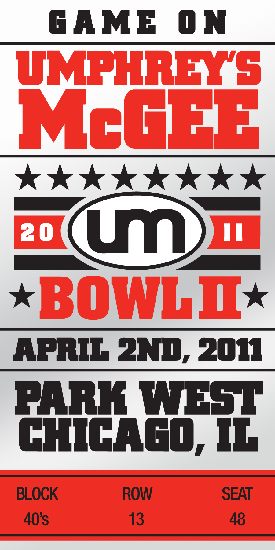 Umphrey's McGee UMBowl II Commemorative Ticket
