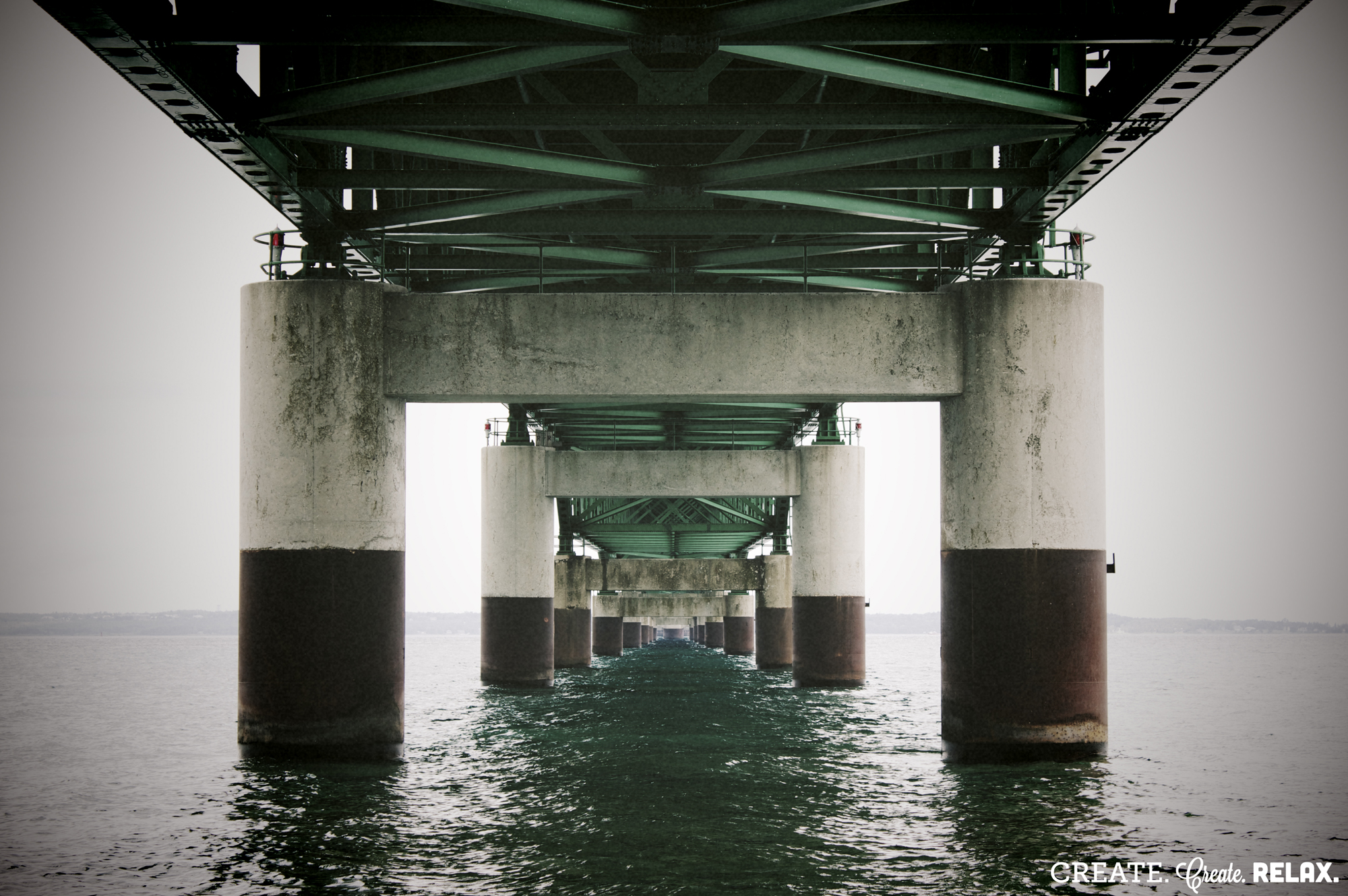 Under the Mackinaw Bridge, Michigan