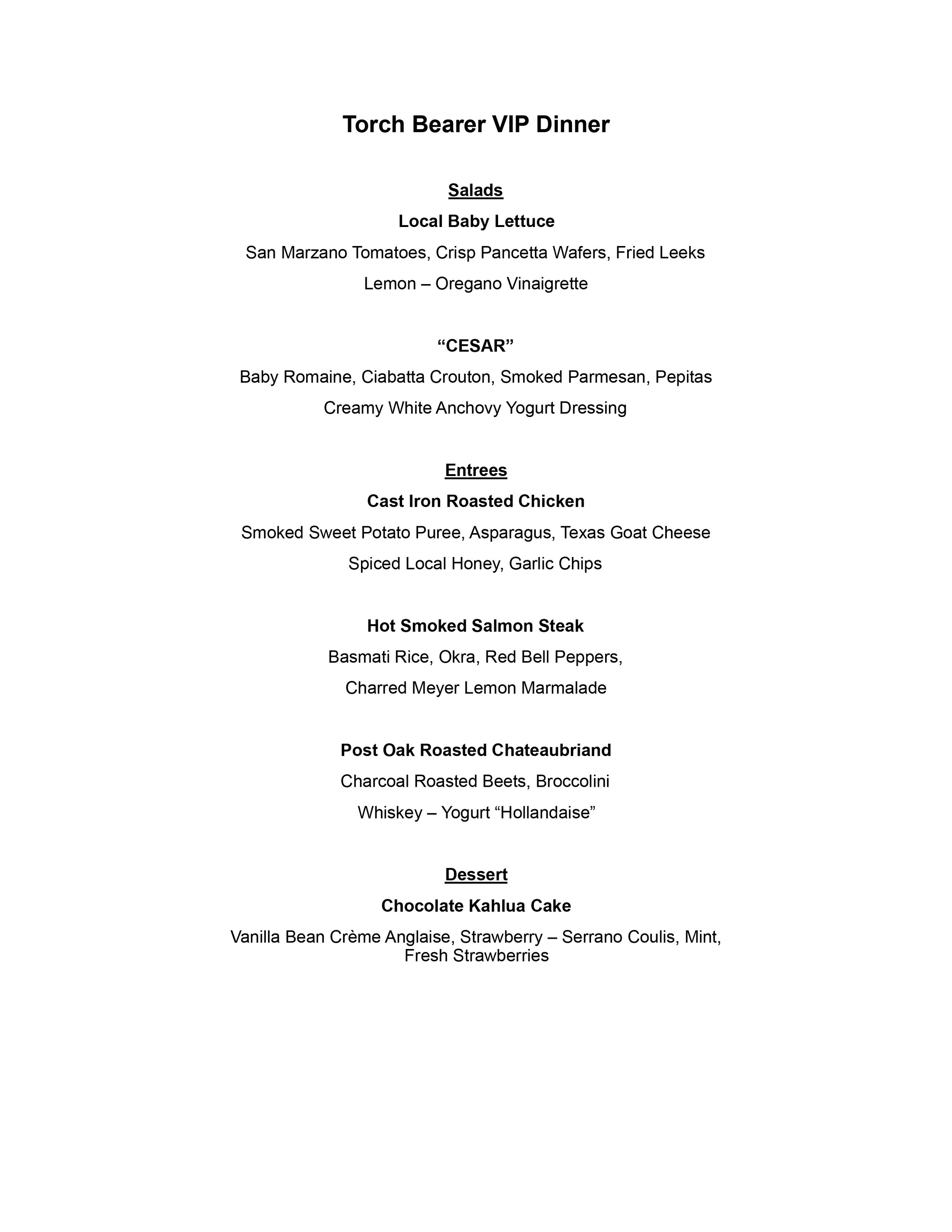 Dinner Menu - by Chef Jason Rolf