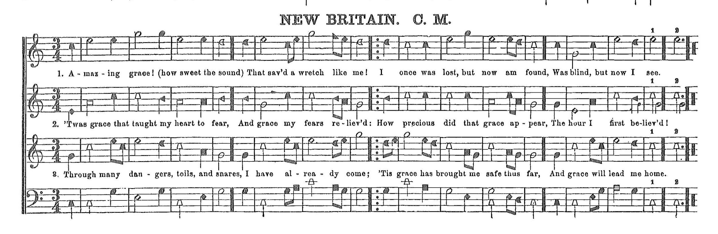 Shape notes are a system of notation in which different tones have different shapes. Shape notes became popular in the 19th century as a teaching method in singing schools. Two of the earliest manuals to include shape notes were   The Easy Instructor  (1801) by William Smith,and  The Musical Primer  (1803) by Andrew Law.