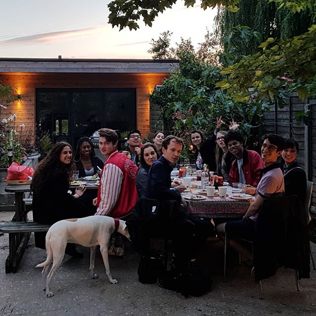 End of year BBQ with my class of 2018/19 @royalacademyofmusic. A great treat to work with this talented bunch #veryproud (with #dogsoftheacademy FDOGRAM Mollie waiting for someone to drop a tasty morsel...)