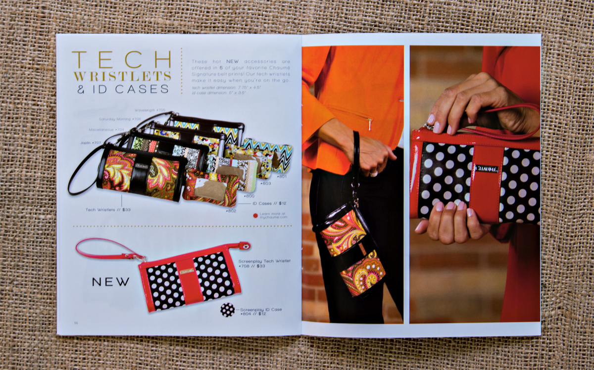 Chaumé 2013 Fall/Winter Collection Catalog // Tech Wristlets & ID Cases Inside Spread