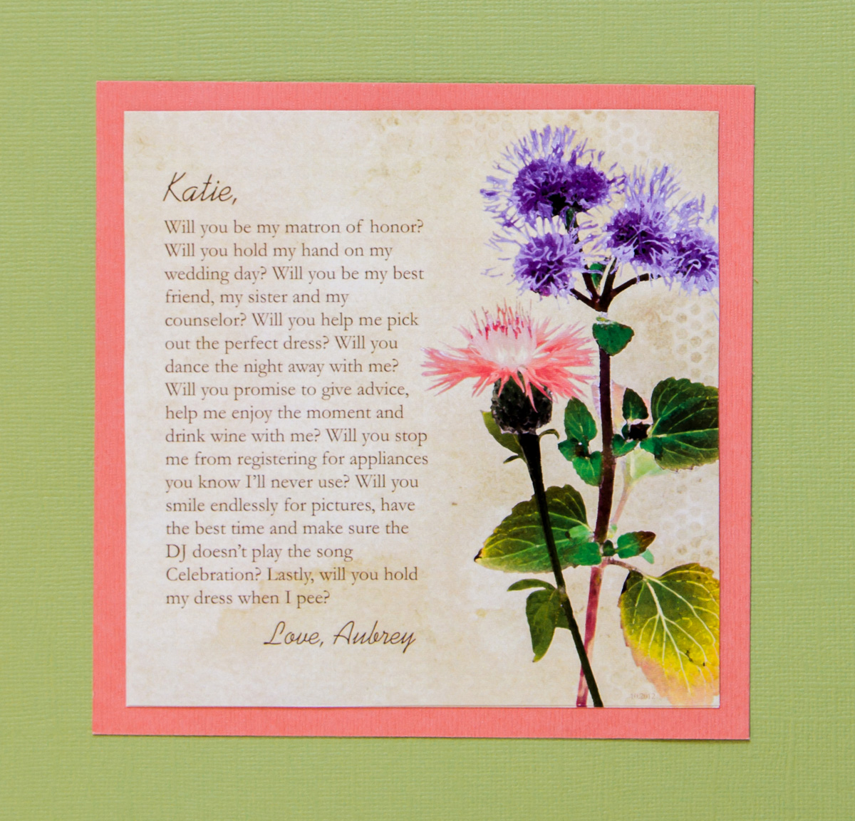 Matron-of-Honor Bridesmaid Card
