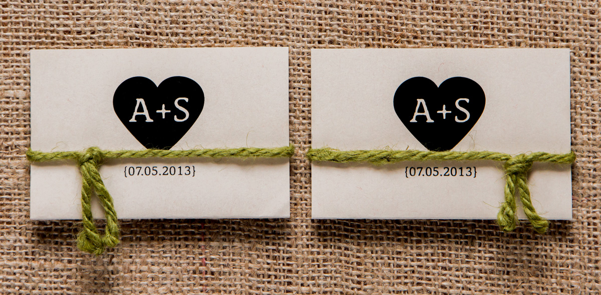 A + S Wedding Program Cards