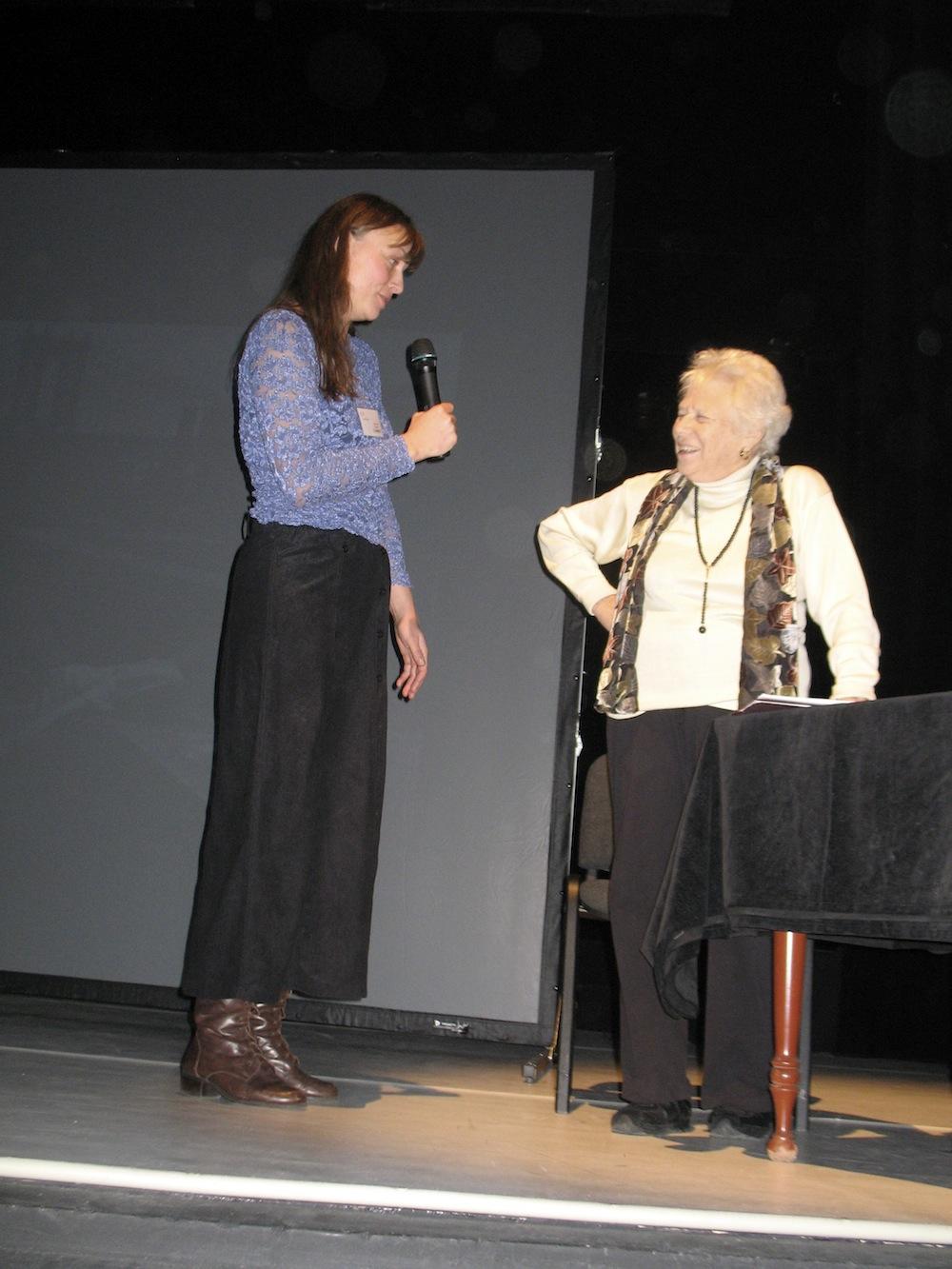 Naomi Rosenblum being interviewed by Inez Baturo at Foto Art Festival, Poland