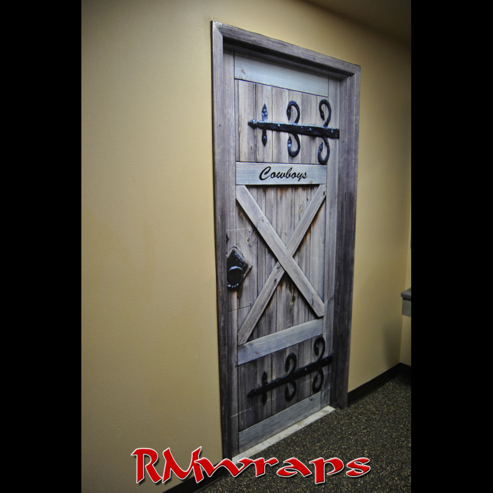 Cowboy Restroom door wraps