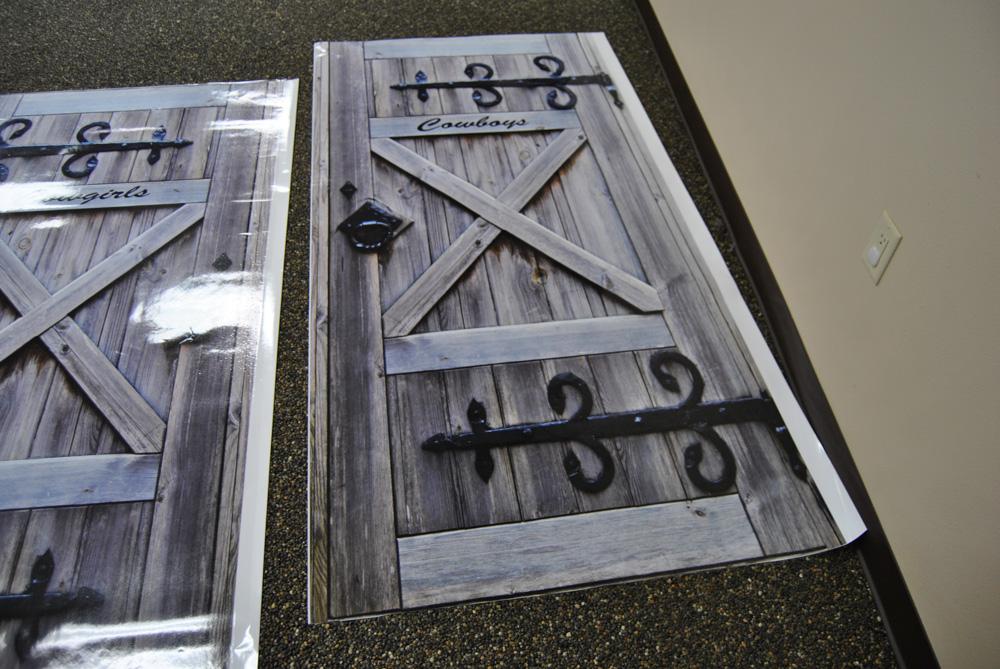 Cowboy Restroom door wraps Rm wraps