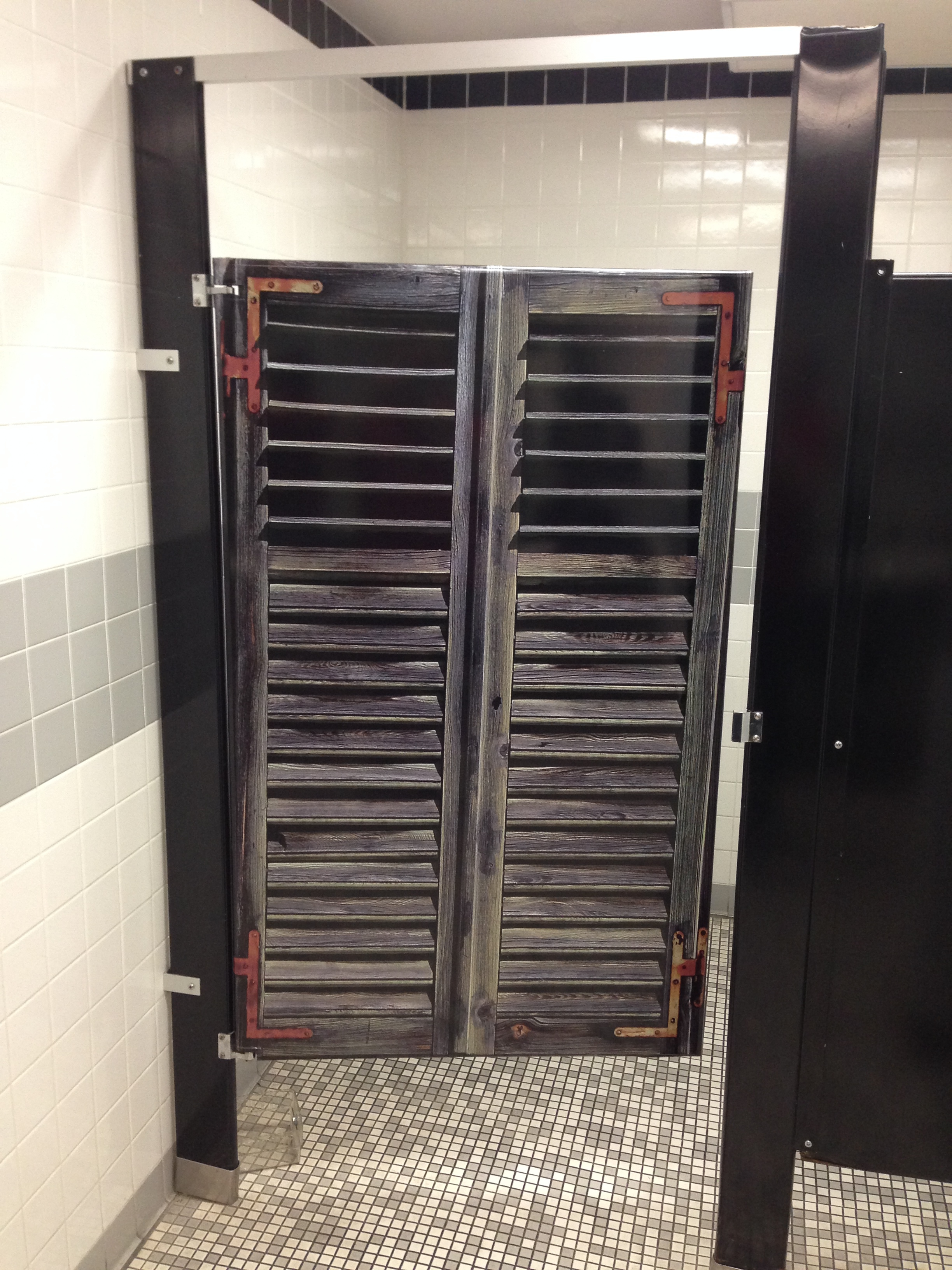 Restroom stall door wraps - Shutters