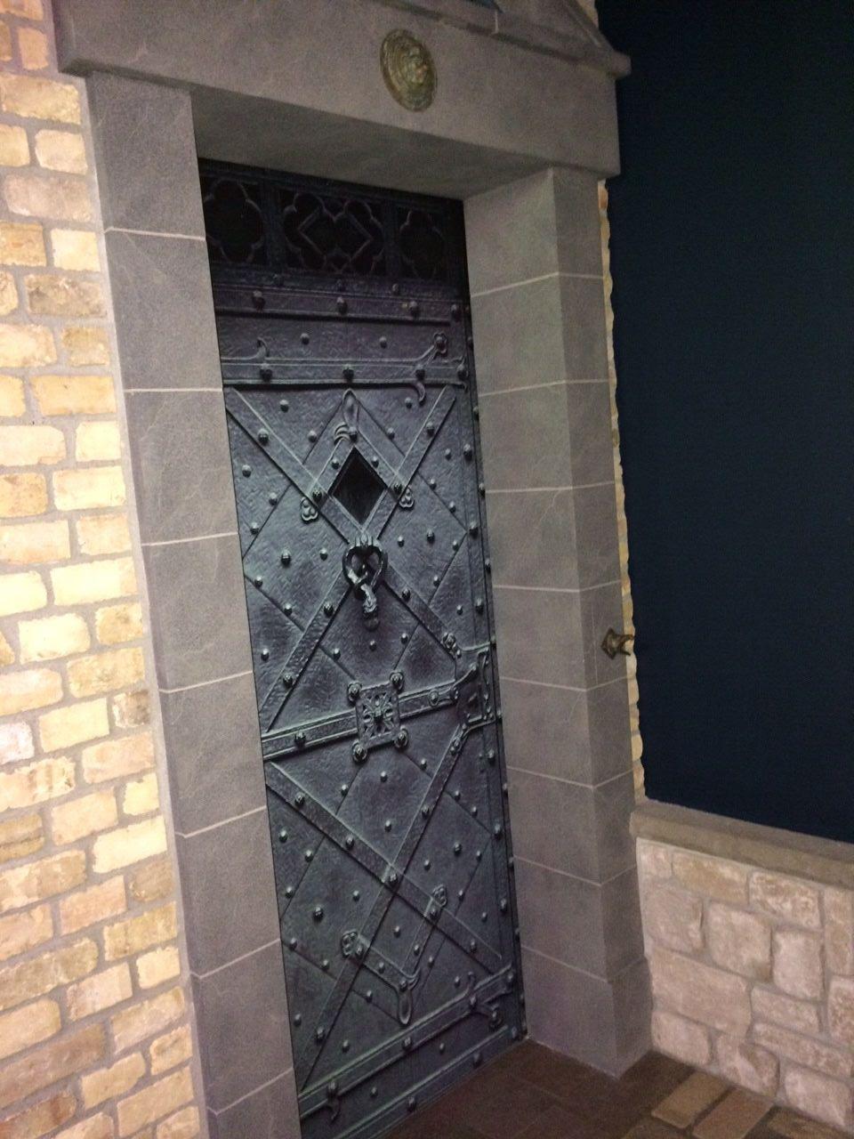 Green metal door wrap